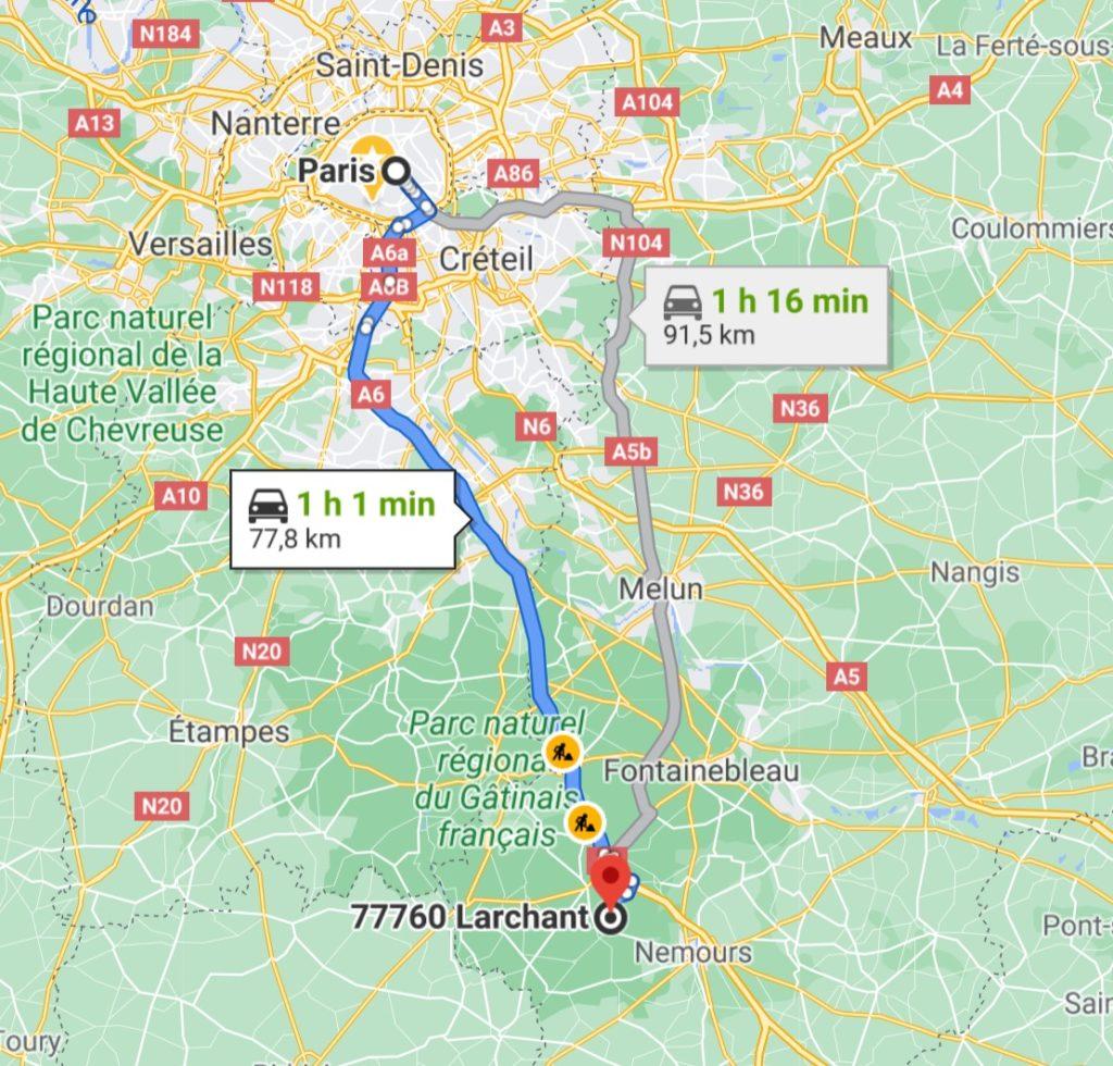 Accès Larchant Fontainebleau escalade